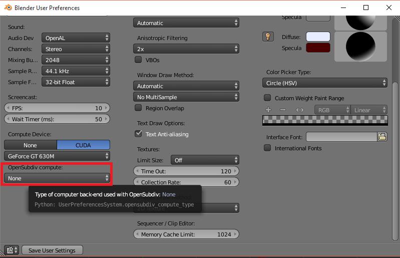 Integración y soporte de OpenSubdiv en Blender
